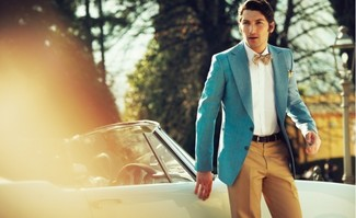 How to wear: aquamarine blazer, white dress shirt, tobacco dress pants, tan polka dot bow-tie
