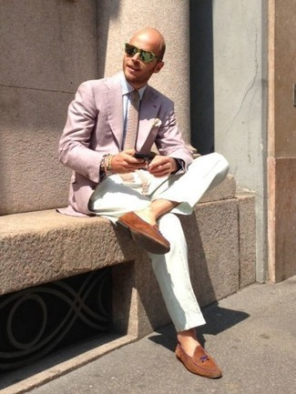How to Wear Tobacco Suede Loafers For Men: Team a pink blazer with white dress pants if you're going for a neat, sharp ensemble. A pair of tobacco suede loafers is a savvy idea to finish off this look.