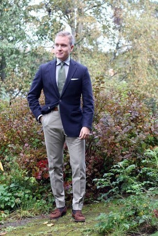 How to Wear Brown Suede Tassel Loafers: A navy blazer and grey dress pants are a smart combination that will earn you a ton of attention. As for footwear, complete your outfit with brown suede tassel loafers.