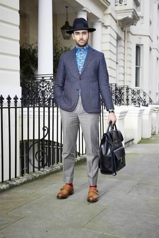 How to Wear Red Socks For Men: For an on-trend look without the need to sacrifice on practicality, we like this pairing of a navy check blazer and red socks. Balance out your look with a more refined kind of shoes, like this pair of tobacco leather double monks.