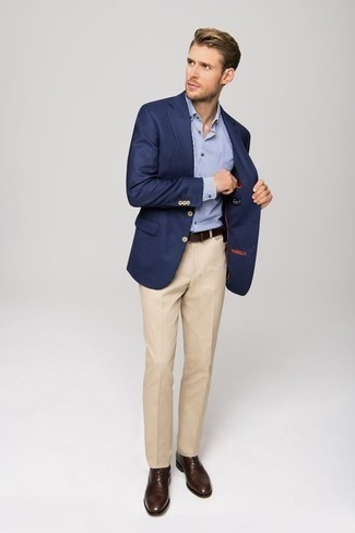 How to Wear a Light Blue Check Dress Shirt For Men: Reach for a light blue check dress shirt and beige dress pants if you're aiming for a clean, stylish look. All you need is a pair of dark brown leather oxford shoes to complete your ensemble.