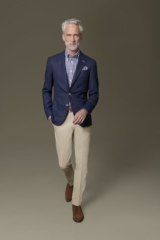 How to Wear Dark Brown Suede Oxford Shoes After 50: This combination of a navy blazer and beige dress pants is great for dressier situations. This ensemble is completed really well with dark brown suede oxford shoes.