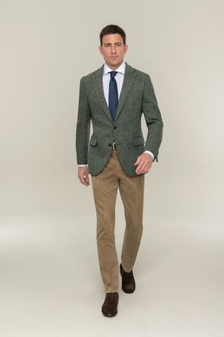 How to Wear Dark Brown Suede Oxford Shoes: For a look that's totally camera-worthy, consider pairing a dark green wool blazer with khaki dress pants. For maximum fashion points, complement your outfit with a pair of dark brown suede oxford shoes.