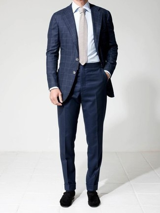 How to Wear a Navy Check Blazer For Men: This polished combo of a navy check blazer and navy dress pants is a frequent choice among the fashion-savvy chaps. Introduce a pair of black velvet loafers to the equation to tie the whole look together.