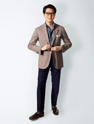How to Wear Dark Brown Leather Loafers For Men: Go all out in a brown check blazer and navy dress pants. Dark brown leather loafers pull the look together.
