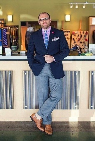 How to Wear a Pink Dress Shirt For Men: Pair a pink dress shirt with light blue dress pants to have all eyes on you. On the fence about how to round off? Add a pair of tan leather double monks to this ensemble for a more laid-back twist.
