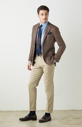 How to Wear Dark Brown Leather Loafers For Men: Indisputable proof that a brown houndstooth blazer and beige dress pants are amazing when teamed together in an elegant getup for a modern gent. Complete your outfit with a pair of dark brown leather loafers and ta-da: the ensemble is complete.