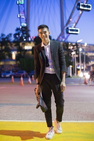 How to Wear a White Dress Shirt For Men: Opt for a white dress shirt and black dress pants if you're aiming for a sleek, stylish look. A pair of white canvas high top sneakers can effortlessly dress down an all-too-polished ensemble.