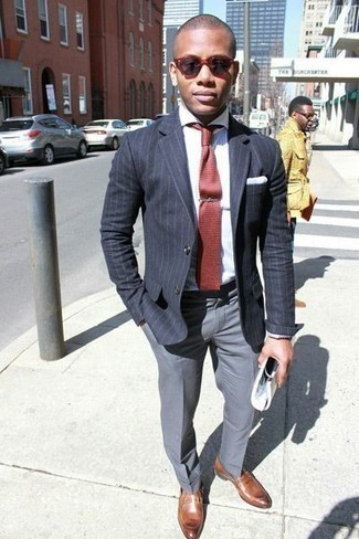 How to Wear a Blazer For Men: This combination of a blazer and grey dress pants resonates polish and refinement. Rock a pair of brown leather loafers and ta-da: your outfit is complete.