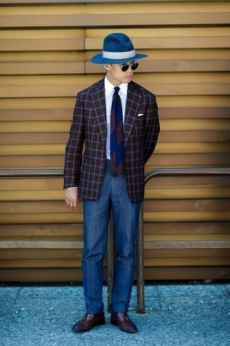 How to Wear Blue Dress Pants For Men: To look smooth and stylish, choose a dark brown check blazer and blue dress pants. On the shoe front, this look is completed brilliantly with brown leather tassel loafers.