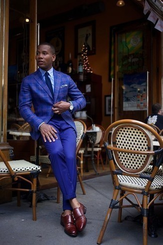 Men's Looks & Outfits: What To Wear In a Dressy Way: This combo of a blue plaid blazer and blue dress pants is seriously dapper and creates instant appeal. A pair of burgundy leather double monks finishes off this outfit quite nicely.
