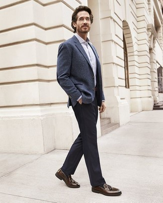 How to Wear Brown Leather Tassel Loafers: Pair a blue blazer with navy dress pants and you're guaranteed to make ladies go weak in the knees. A great pair of brown leather tassel loafers ties this outfit together.