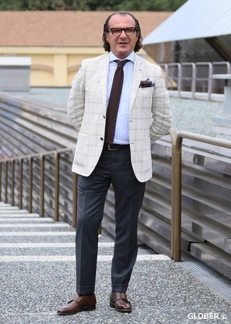 How to Wear a Pocket Square After 50: This pairing of a white plaid blazer and a pocket square is hard proof that a safe off-duty outfit can still be really interesting. Finish off with brown leather double monks to upgrade this look. So if you're looking for a nice and age-appropriate ensemble, look no further.