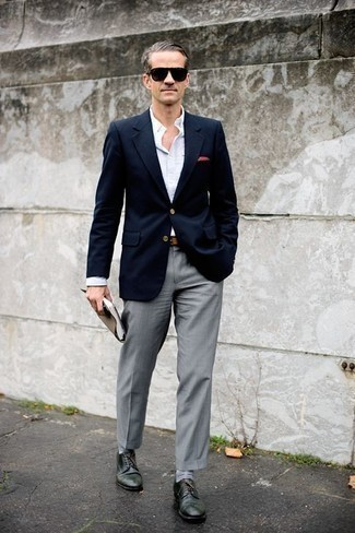How to Wear Grey Dress Pants For Men: Combining a navy blazer with grey dress pants is an amazing pick for a sharp and polished getup. The whole outfit comes together when you complement your getup with dark green leather derby shoes.