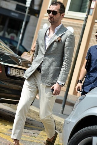 How to Wear Driving Shoes For Men: To look like a real gent, go for a grey plaid blazer and white dress pants. And if you need to immediately play down this outfit with one single item, complete your getup with a pair of driving shoes.