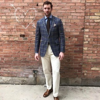 How to Wear a Light Blue Dress Shirt For Men: This combo of a light blue dress shirt and white dress pants is a winning option when you need to look truly classy. Complete your outfit with a pair of brown leather tassel loafers to infuse a sense of stylish casualness into this ensemble.