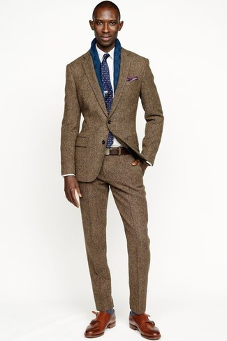 How to wear: brown wool blazer, white dress shirt, brown wool dress pants, tobacco leather double monks