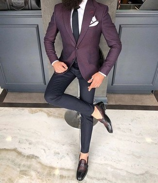 Black Tie Outfits For Men: A dark purple blazer and a black tie are a sophisticated ensemble that every modern gent should have in his collection. To bring out the fun side of you, complete your outfit with a pair of burgundy leather monks.