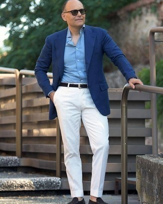 Blue Blazer Outfits For Men: For a look that's nothing less than camera-worthy, try teaming a blue blazer with white dress pants. The whole ensemble comes together if you complete your look with a pair of black suede loafers.