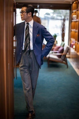Blue Blazer with Grey Dress Pants Outfits For Men: Make a powerful statement anywhere you go by wearing a blue blazer and grey dress pants. Now all you need is a cool pair of brown leather loafers to round off your ensemble.