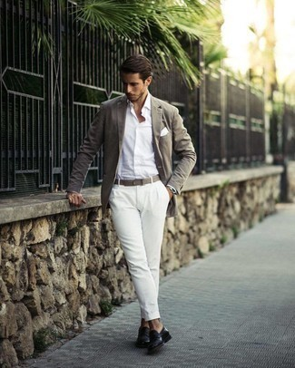 Grey Blazer Outfits For Men: A grey blazer looks so sophisticated when worn with white dress pants. When not sure as to the footwear, complement your look with a pair of black leather loafers.