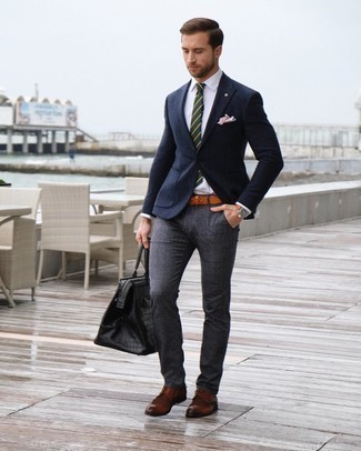 Brown Leather Brogues Outfits: For sharp style with a modern twist, pair a navy wool blazer with charcoal plaid dress pants. All you need is a pair of brown leather brogues to finish your look.