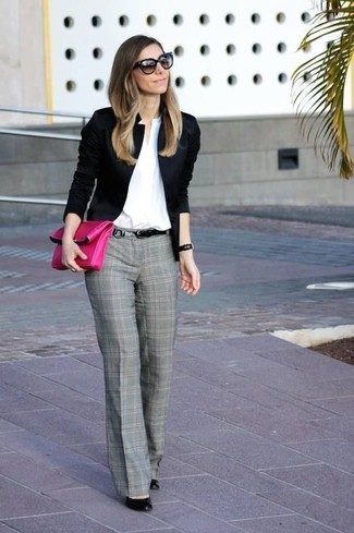 A black blazer jacket and grey plaid suit pants is a versatile combination that will provide you with variety. For the maximum chicness rock a pair of black leather pumps.