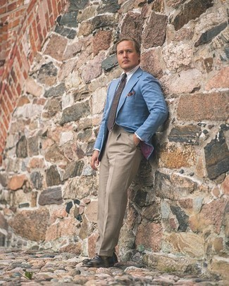 Light Blue Blazer Outfits For Men: A light blue blazer and khaki dress pants are absolute staples if you're figuring out a sophisticated closet that matches up to the highest menswear standards. When it comes to shoes, introduce black leather loafers to the mix.