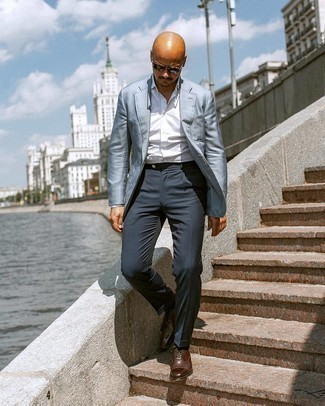 Light Blue Blazer with Navy Dress Pants Outfits For Men: This getup clearly shows that it pays to invest in such elegant menswear pieces as a light blue blazer and navy dress pants. The whole ensemble comes together if you introduce dark brown leather oxford shoes to your look.