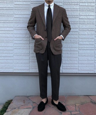 Black Wool Dress Pants Outfits For Men: A brown houndstooth wool blazer and black wool dress pants are absolute mainstays if you're putting together a stylish closet that matches up to the highest menswear standards. Black velvet loafers are a wonderful pick to complete your outfit.