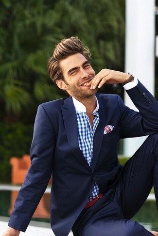 How to wear: navy blazer, white and blue gingham dress shirt, navy dress pants, white and red plaid pocket square