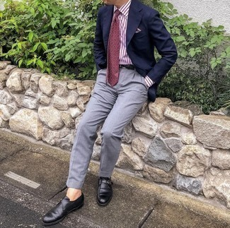 Black Woven Leather Belt Outfits For Men: A navy blazer and a black woven leather belt are a nice pairing to add to your casual styling lineup. Go ahead and throw in a pair of black leather monks for a sense of polish.