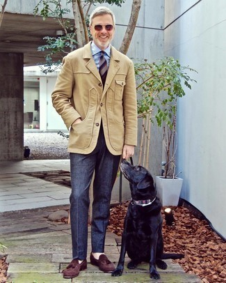 Tan Blazer with Blue Dress Pants Outfits For Men: A tan blazer and blue dress pants are an extra sharp combination to try. Introduce dark brown suede tassel loafers to this look to pull the whole thing together.