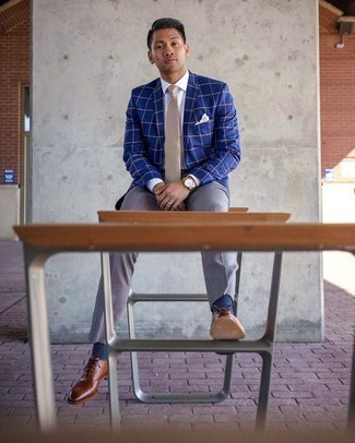 Blue Check Blazer Outfits For Men: This combination of a blue check blazer and grey dress pants is a real life saver when you need to look elegant and truly dapper. You can get a little creative in the footwear department and complete this getup with brown leather oxford shoes.