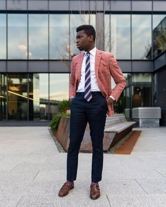Navy Dress Pants Outfits For Men: Rock a hot pink plaid blazer with navy dress pants for a sleek polished getup. Add brown fringe leather loafers to the equation and off you go looking boss.