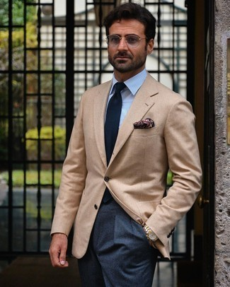 Tan Blazer with Blue Dress Pants Outfits For Men: Dress in a tan blazer and blue dress pants to look like a refined gentleman.