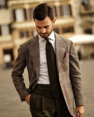 Brown Plaid Wool Blazer Outfits For Men: Pair a brown plaid wool blazer with dark green dress pants for a really sharp outfit.