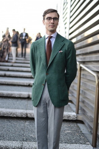 Men's Outfits 2020: Pair a dark green wool blazer with grey wool dress pants for incredibly dapper attire.