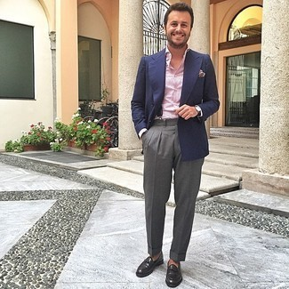 Charcoal Dress Pants with Suspenders Outfits: To look like a proper gent with a great deal of class, consider teaming a navy blazer with charcoal dress pants. On the shoe front, this look pairs brilliantly with black leather loafers.