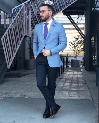 Light Blue Blazer with Navy Dress Pants Outfits For Men: This is hard proof that a light blue blazer and navy dress pants look awesome when you pair them up in a classy look for a modern dandy. A pair of dark brown leather double monks is a wonderful option to finish off your outfit.