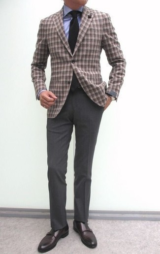 Dark Brown Leather Double Monks Outfits: Irrefutable proof that a brown gingham blazer and charcoal dress pants are amazing when worn together in a polished ensemble for a modern man. A pair of dark brown leather double monks is a wonderful pick to finish off your outfit.