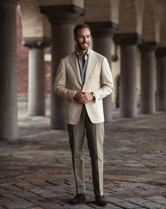 Light Blue Dress Shirt Outfits For Men: This classy combination of a light blue dress shirt and olive dress pants is a must-try ensemble for today's gentleman. Let your sartorial prowess really shine by finishing with a pair of dark brown suede oxford shoes.
