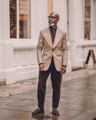 Navy Chambray Dress Shirt Outfits For Men: Exhibit your polished self by wearing a navy chambray dress shirt and dark brown corduroy dress pants. For something more on the casually edgy end to round off your ensemble, throw in dark brown leather tassel loafers.