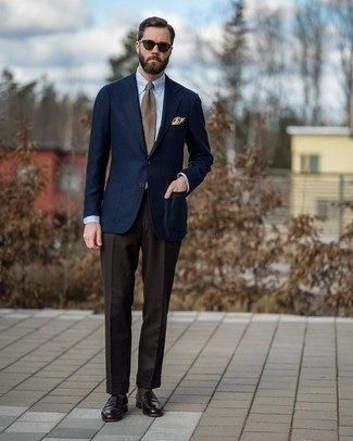 Tan Plaid Tie Outfits For Men: You'll be surprised at how extremely easy it is to throw together this refined outfit. Just a navy wool blazer paired with a tan plaid tie. Add a pair of dark brown leather loafers to the equation et voila, the ensemble is complete.