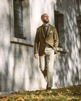 Olive Check Wool Blazer Outfits For Men: An olive check wool blazer and beige dress pants are absolute must-haves if you're piecing together a polished wardrobe that matches up to the highest sartorial standards. Complement your look with dark brown leather casual boots to immediately bump up the appeal of your look.