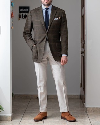 Brown Suede Casual Boots Outfits For Men: This is definitive proof that a dark brown check wool blazer and white dress pants look amazing paired together in a refined ensemble for a modern dandy. Take a more relaxed approach with shoes and complete this ensemble with brown suede casual boots.