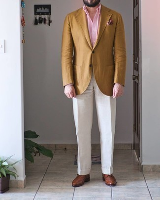 Pink Print Pocket Square Outfits: Consider teaming a yellow blazer with a pink print pocket square to feel unstoppable and look seriously stylish. Go ahead and complement your outfit with brown leather brogues for a dash of polish.