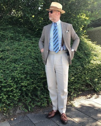 Brown Suspenders Outfits: Teaming a tan blazer with brown suspenders is an on-point pick for a casual but sharp getup. With shoes, go for something on the more elegant end of the spectrum and finish off your getup with a pair of brown leather tassel loafers.