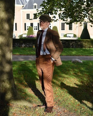 Brown Suspenders Outfits: For an outfit that delivers practicality and style, go for a tan plaid wool blazer and brown suspenders. Smarten up your look with the help of a pair of dark brown leather brogues.