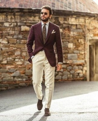 Jacket Outfits For Men: A jacket and beige dress pants are robust sartorial weapons in any gentleman's arsenal. Introduce dark brown suede derby shoes to your look and the whole ensemble will come together.